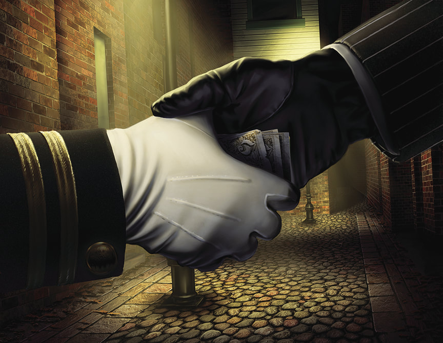 The Circle Undone illustration: A hand wearing a black leather glove shakes a police-officer's hand, wearing a white police officer's glove. Palmed in the black gloved hand, we see a few 5 dollar bills. It is obvious that this handshake is really a bribe. Streets of Arkham.