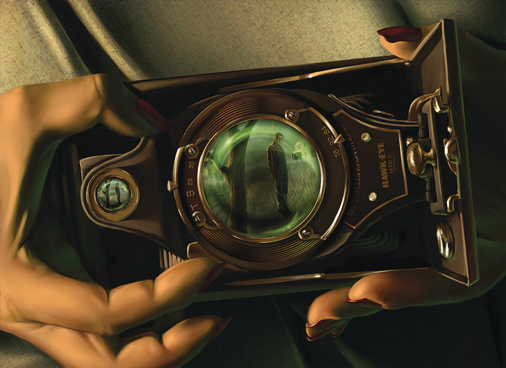 An illustration for The Circle Undone: A hawkeye camera is being used to take a picture. In the small lens of the camera, the reflection of a man hanging from an oak tree can be seen.