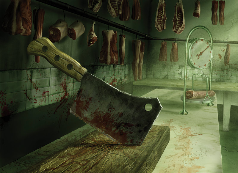 The Circle Undone Illustration: A large meat cleaver is embedded in a wooden cutting board. In the background, blood is splattered gratuitously on the walls.