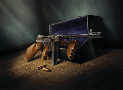 A .45 Thompson leans against its empty carrying case, lying on a dusty wooden floor.