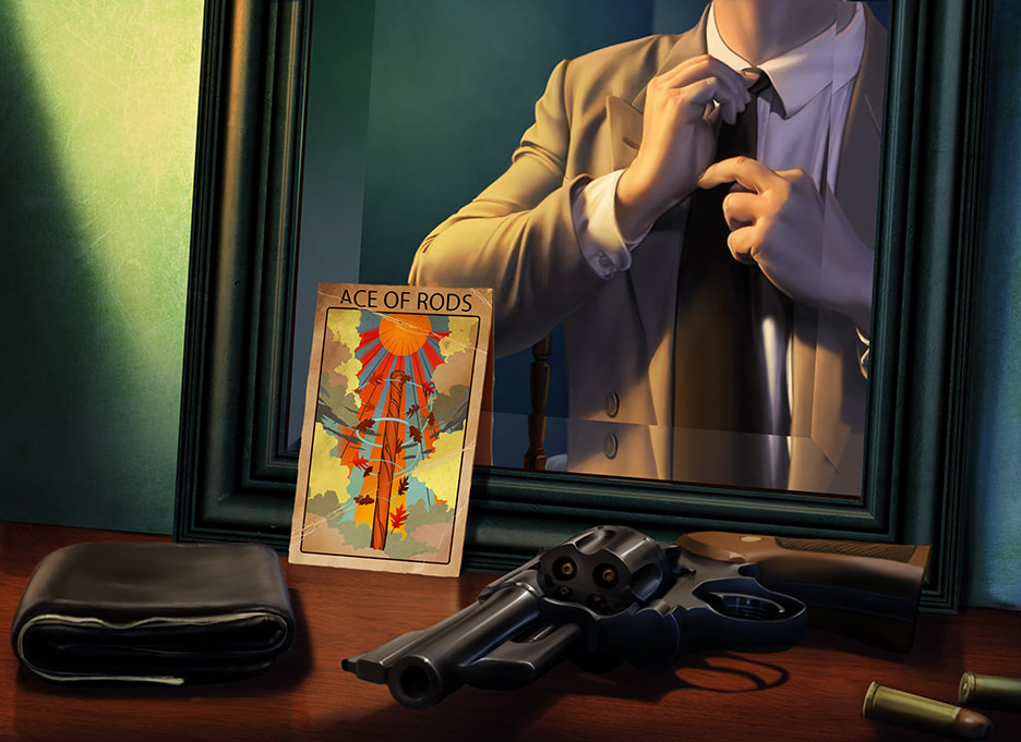 Arkham Horror Illustration: The Ace of Rods tarot card leans upright against a mirror on a desk.  In the mirror's reflection, we see a man in a gray suit, straightening his tie.