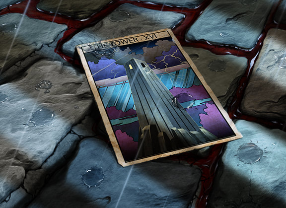 The Tower tarot card lies on the ground among several cobblestones, abandoned and forgotten. Nearby, a trail of blood courses through the stones.