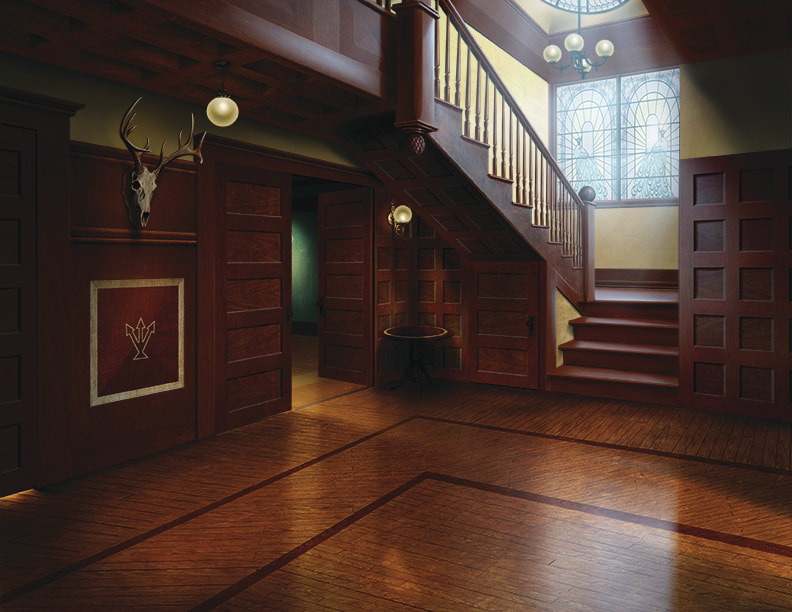 The lobby of the Silver Twilight Lodge, inside a lovely Victorian mansion. A staircase winds upwards to the mansion's second floor, and we can see several other open doorways leading into other areas.