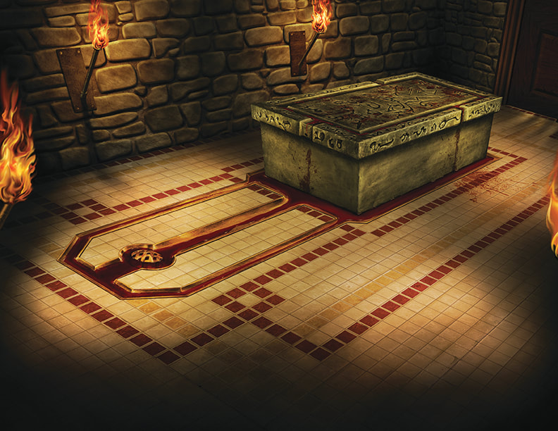 A grand underground chamber in the basement of the Silver Twilight Lodge, where rituals and ceremonies would be held.