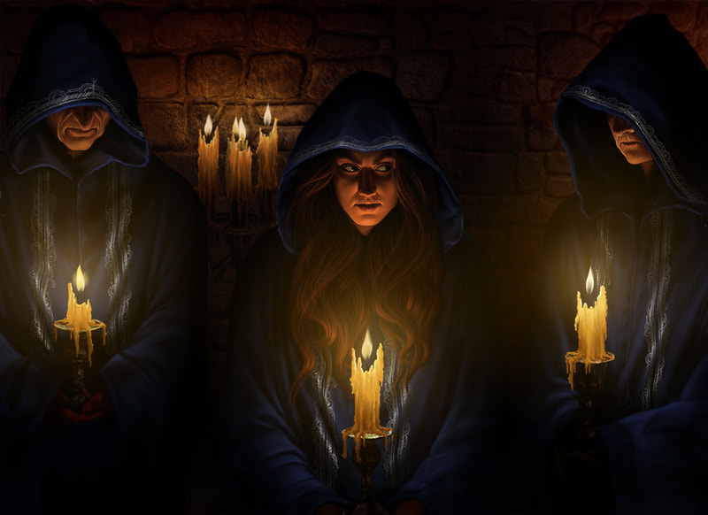 An illustration of Diana Stanley undercover in an occult cult meeting.