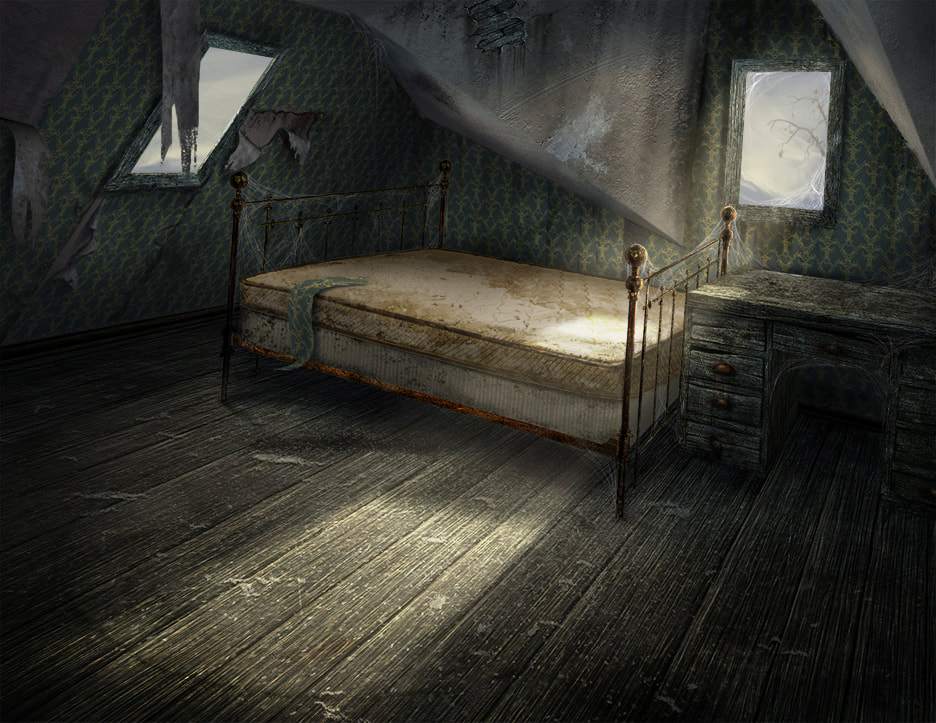 Walter Gilman's abandoned bedroom. The room's walls and ceiling are slanted at strange angles.
