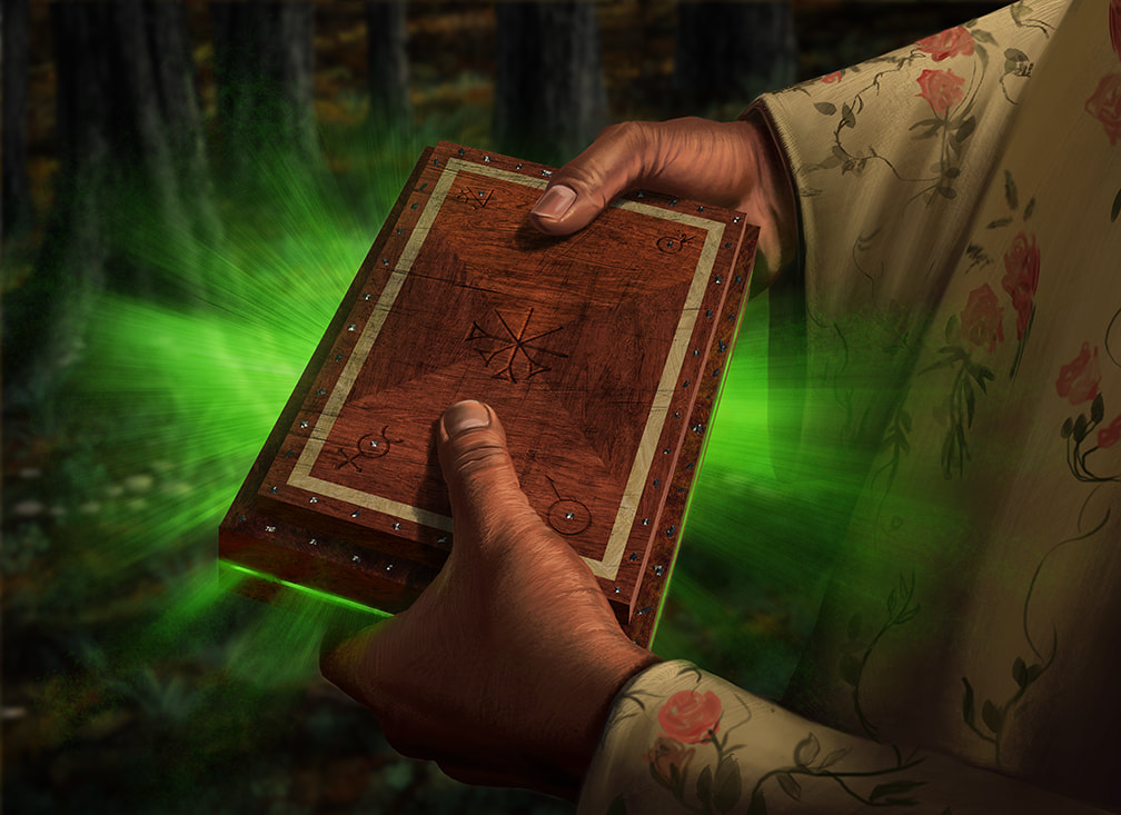 A small wooden box contains a gateway to the Dreamlands. Energy from  the Dreamlands is leaking out of the box.