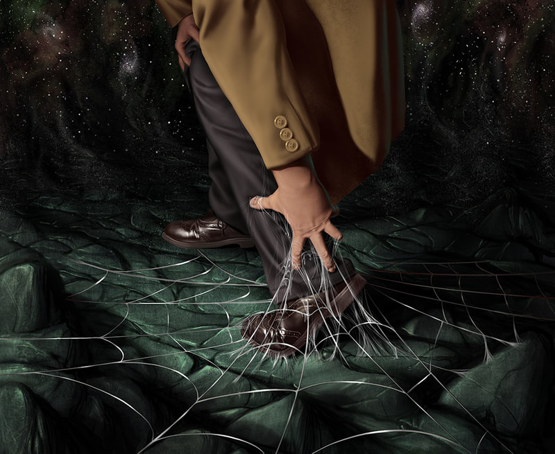 An illustration for Arkham Horror of a male investigator's feet have become hopelessly enmeshed in a sticky spiderweb