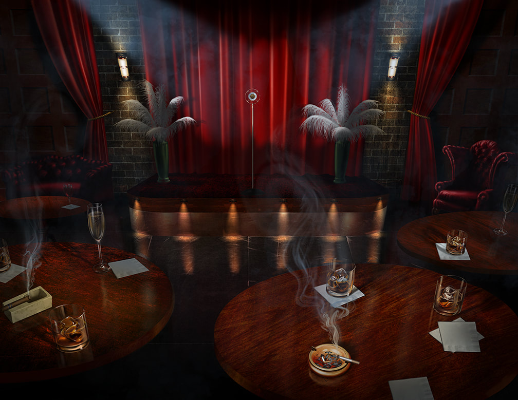 A dim and smoky performance area in a 1920s speakeasy.