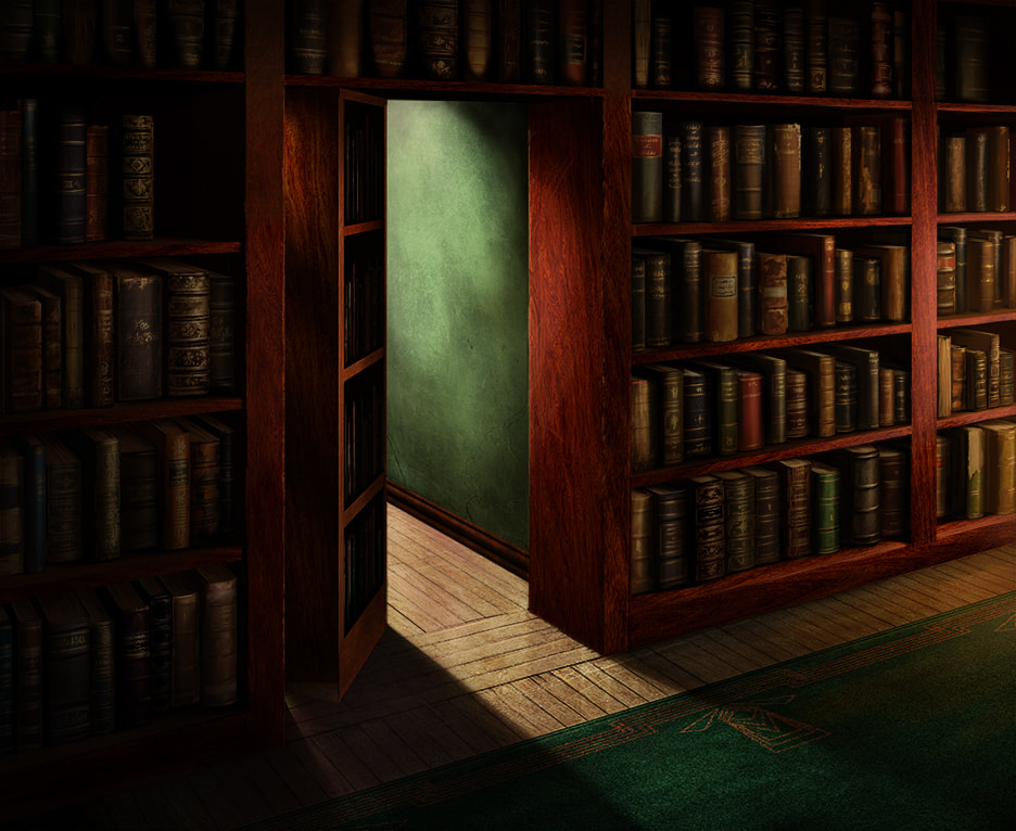 In a dark wooden hallway, we see a bookshelf sliding to the side, revealing a hidden passage in the wall behind it. Light emits from the passage beyond.