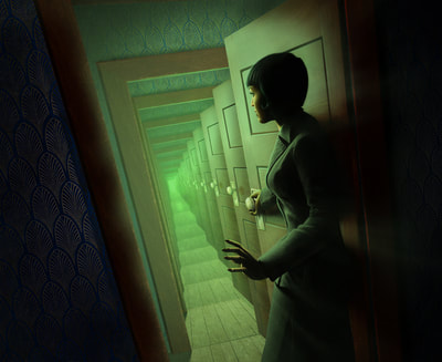 Return to the Dunwich Legacy illustration. An investigator opens a wooden door, and beyond the threshold of  the doorway, we see a near-infinite number of the same open doorway.