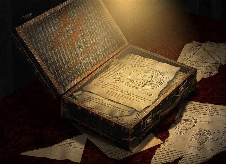 A stack of paper scraps lies in an open briefcase, covered in latin writing, strange diagrams, and arcane markings.