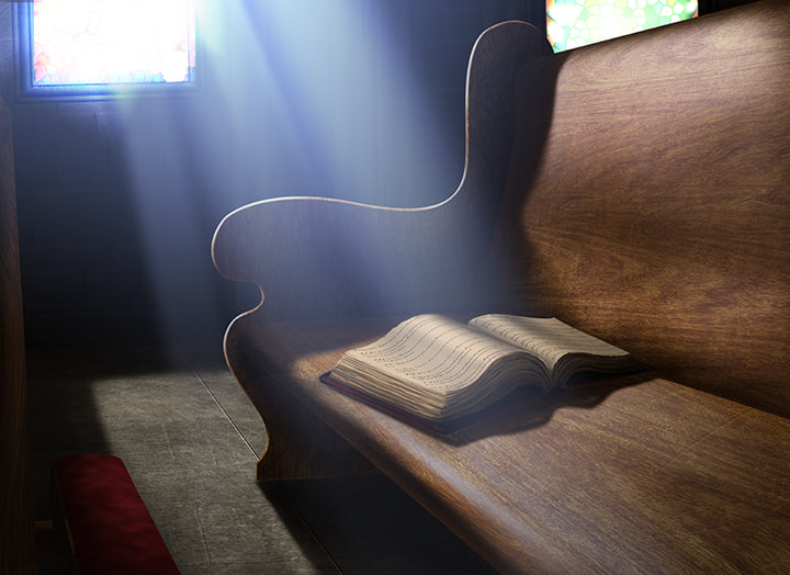 A hardcover book of psalms lies open on a church pew.