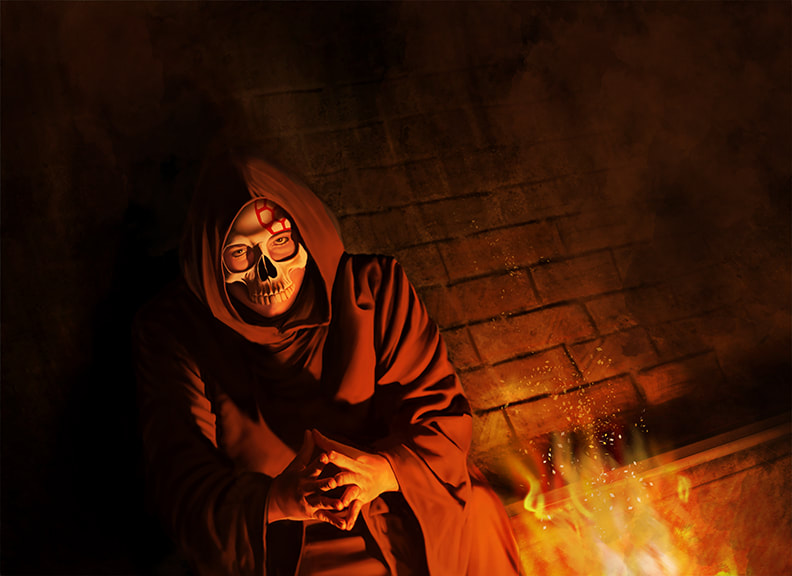 A robed figure wearing a skull mask sits hunched by a fire in a sewer.