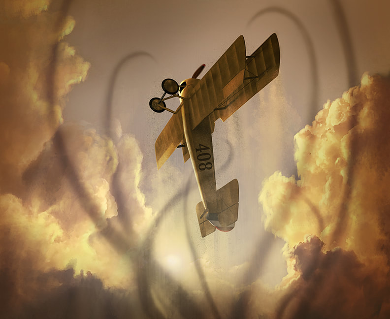 "Winifred's ""Tommy"" (Thomas Morse S-4) biplane flies directly upwards into the air, soaring high as the clouds. Below her, tendrils of shadow are reaching up towards the plane."