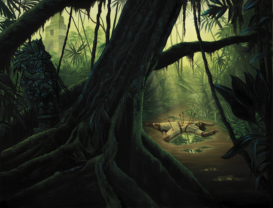 In a rainforest concealing Aztec ruins, a man's corpse lies riddled with arrows.