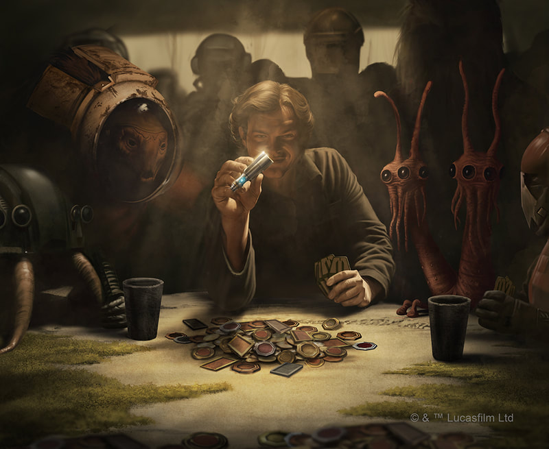Young Han Solo holds vial of coaxium hyperfule in the middle of a game of sabacc gambling for the millenium falcon.