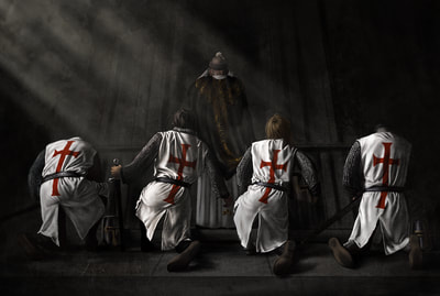 Four Crusaders hear mass before battle.