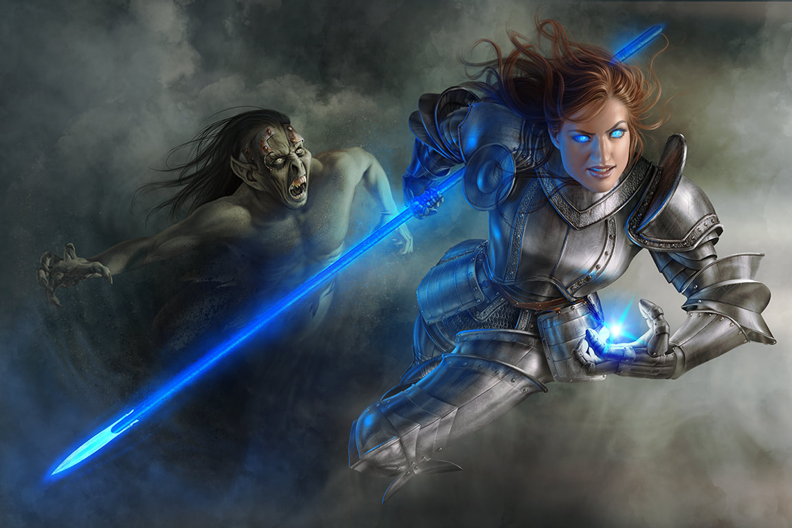 Fantasy Illustration of a female knight fighting a magical goblin.