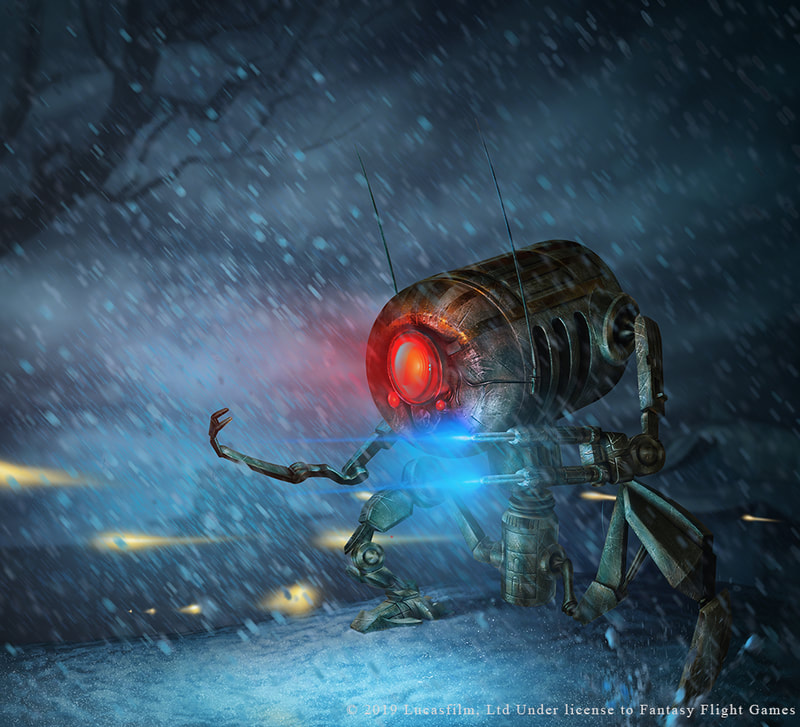 Illustration of an LR-57 Combat Droid shooting blue blasters in the snow.