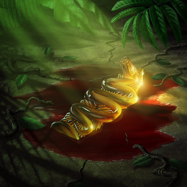 A polished piece of citrine carved in the stylized shape of a serpent lies in a pool of blood on the jungle floor. The figurine fits in the palm of your hand and is an ancient relic.