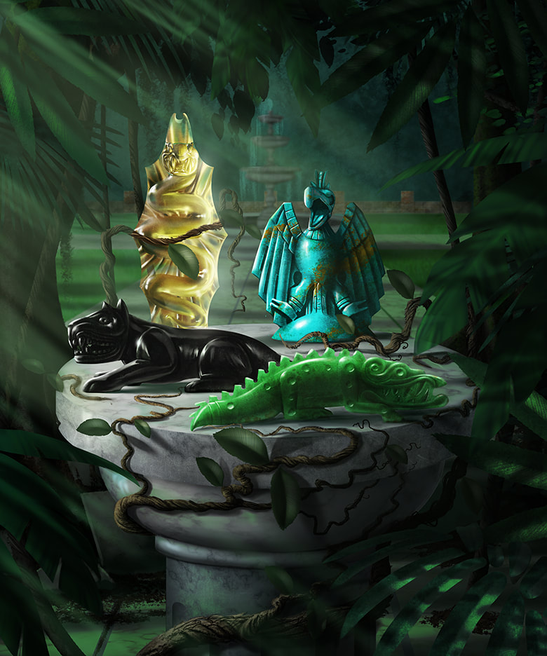 Four figurines (see Citrine Snake, Turquoise Eagle, Jade Crocodile, and Obsidian Jaguar art briefs) are displayed on a cylindrical white marble pedestal. Dark jungle vines wrap around the pedestal, climbing toward the figurines.