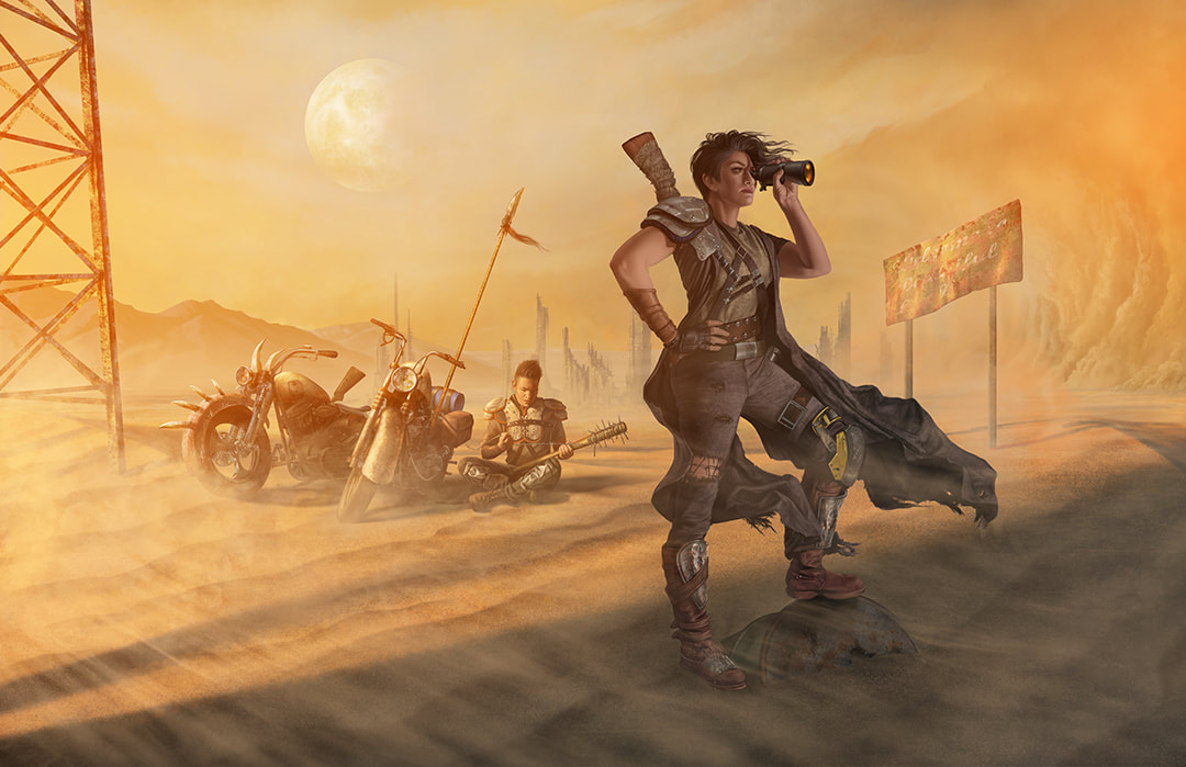 An Asian male and Hispanic female wasteland wanderer stand and sit next to their scavenged motorcycles in the midst of a barren desert.