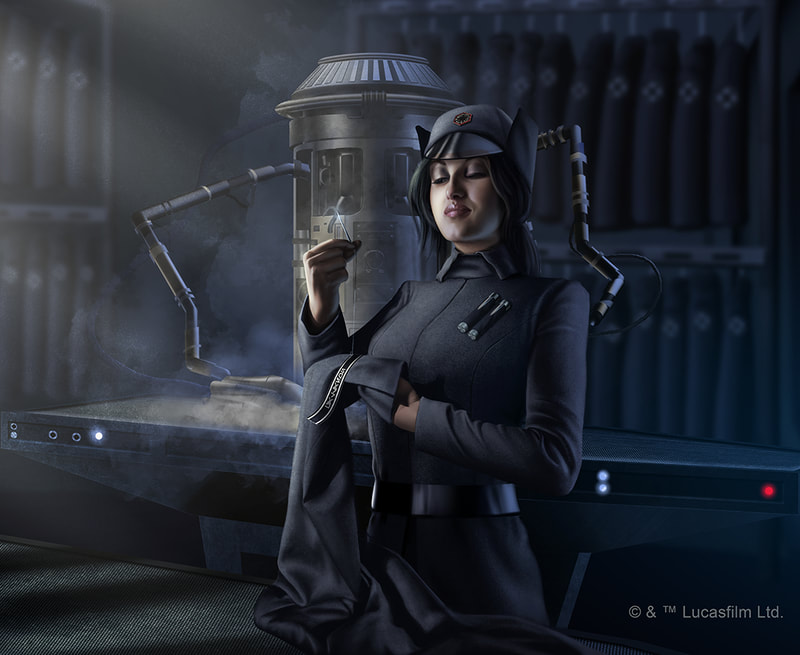 A Star Wars Illustration of a young female cadet of the First Order.