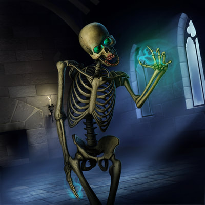 A human skeleton animated by dark magic. The bones are yellowed and old, and bare of any flesh. The power that animated the bones still lingers in its empty eye sockets, and around the sharp fingers. The teeth have cracked into sharp edges, and have been stained with fresh blood. The skeleton is walking upright through a dark stone room with arched windows letting in the moon's light.