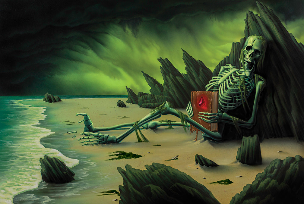 "A Skeleton lies on a beach with a book in its hands. An illustration for ""Omens of the Deep"""