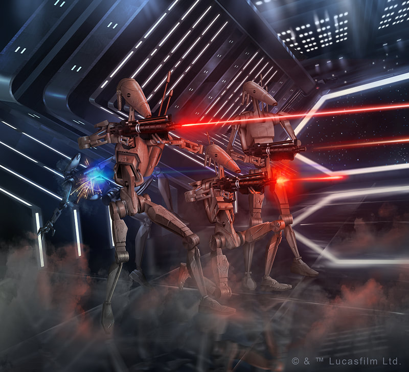 Spark of Hope Booster Pack: Star Wars Destiny illustration of a group of B1 battle droids firing their E5 blaster rifles at an unseen target.