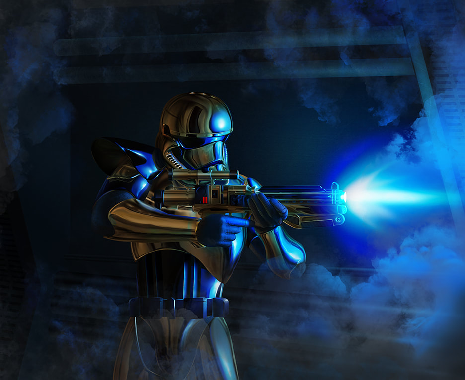 An illustration of gold stormtrooper Pyre shooting blue blaster