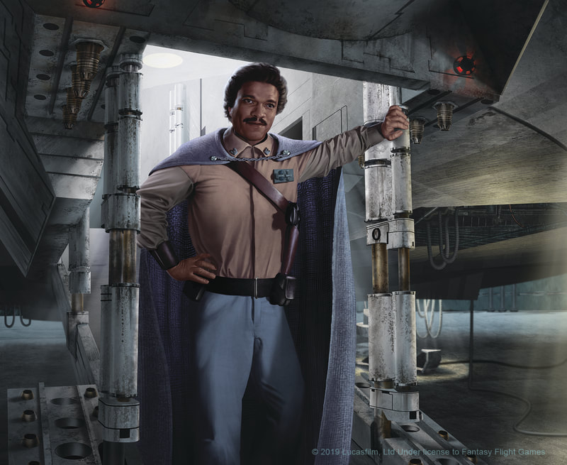 An illustration of Lando Calrissian stepping out on the ramp of the Millenium Falcon.