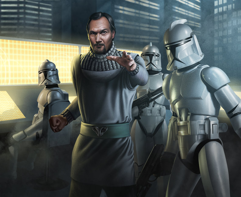 Senator Bail Organa directs Clone Troopers in a forward command center.
