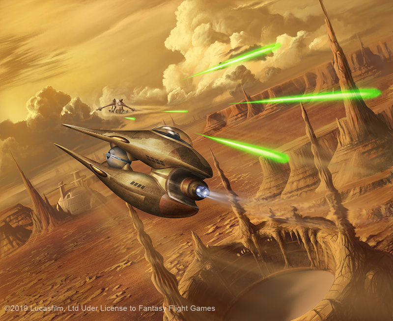 A Nantex-class starfighter dodging laser blasts from a LAAT.