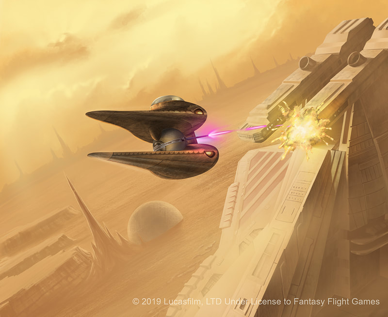 A Nantex-class starfighter strafing the bridge of a Republic Assault  Cruiser. Both ships are in the skies of Geonosis.