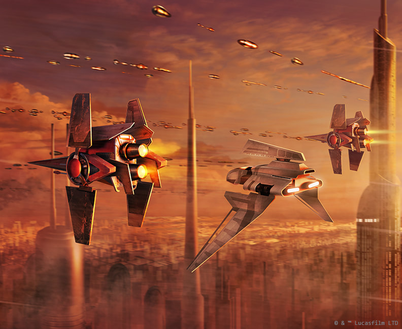Two V-wing Starfighters escort a Theta-class Shuttle over Coruscant.