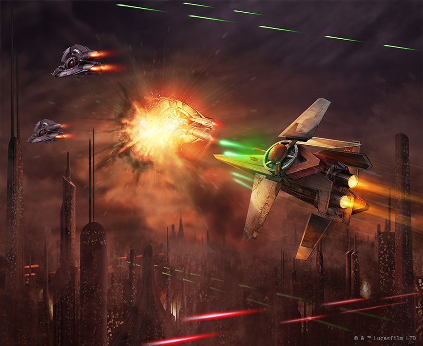 A V-wing destroys a Droid Tri-Fighter during the Battle of Coruscant.
