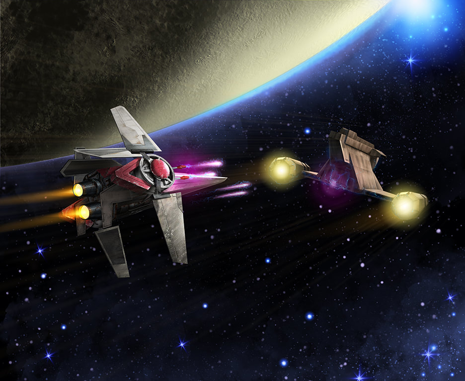 An illustration of a  V-wing Starfighter with a black trim paint scheme fires blue ion bolts at a Zygerrian Slave Ship