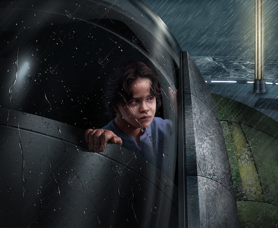 Child Boba Fett peering over the edge of the Slave I's cockpit in the rain.