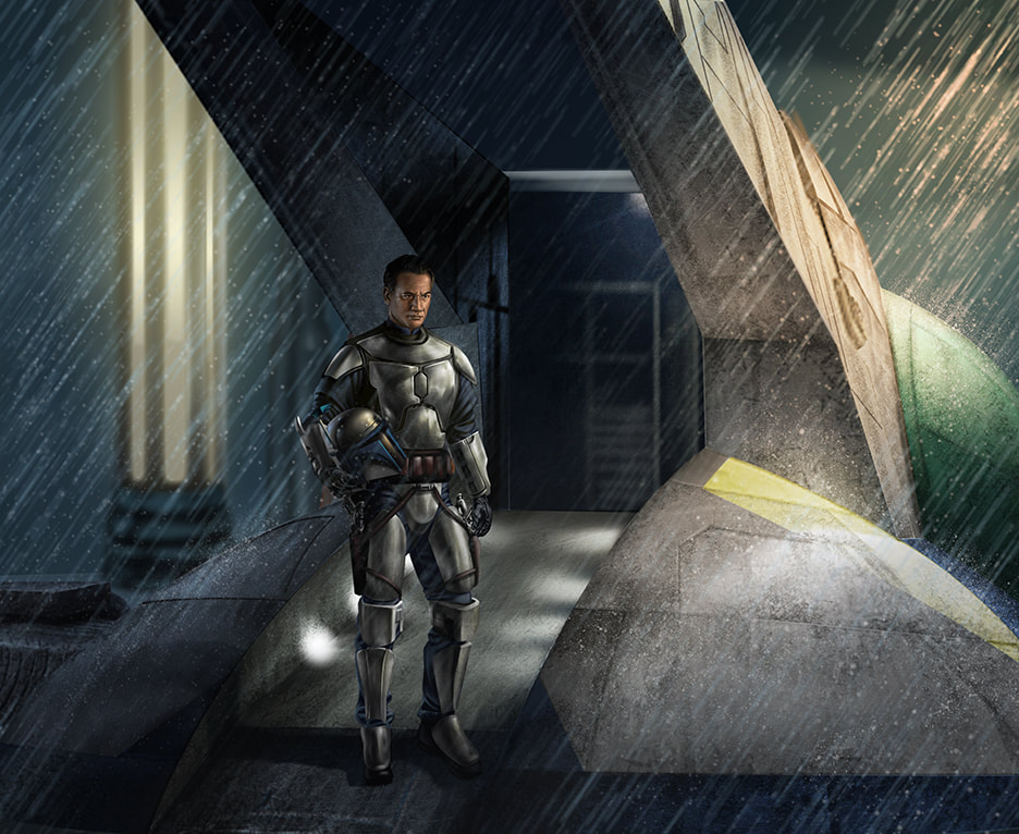 Jango Fett standing on the ramp of the Slave I, wearing his armor but with his helmet tucked under one arm.