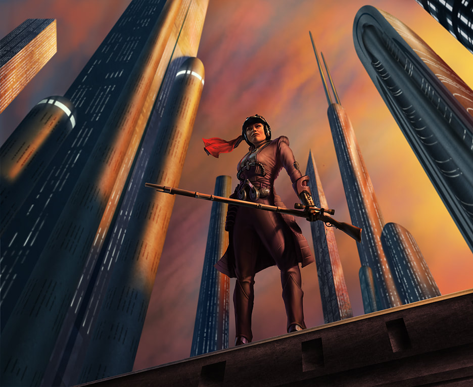 Zam Wesell in her human form standing on the ledge of a Coruscant skyscraper at night.