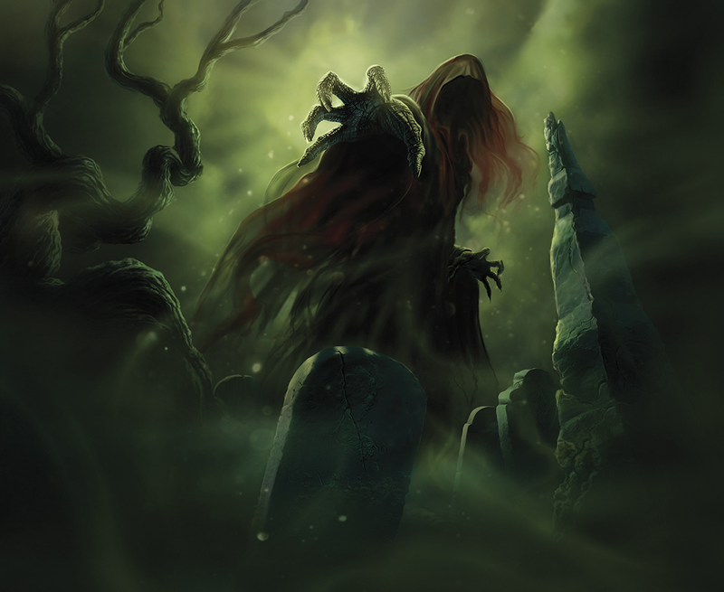 "A horror illustration of The Watcher reaching out menacingly at the viewer with its blackened hand. It is a spectral being from another realm, with ""skin"" that appears blackened and charred. It appears to be wearing a hooded robe made entirely of black and red mist, and coiled shadows."