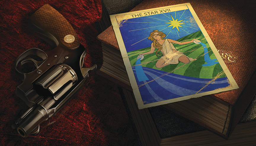Arkham Horror Illustration: A tarot card lies atop a stack of two or three leatherbound books. A small pistol rests on the table next to the volumes.